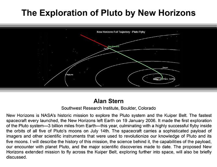 Plenary: THE EXPLORATION OF PLUTO BY NEW HORIZONS