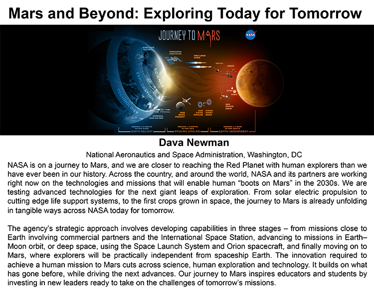 Plenary: MARS AND BEYOND: EXPLORING TODAY FOR TOMORROW