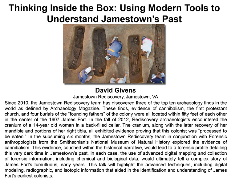 Plenary: THINKING INSIDE THE BOX: USING MODERN TOOLS TO UNDERSTAND JAMESTOWN'S PAST